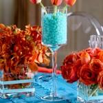decoração azul com laranja - mini casamento